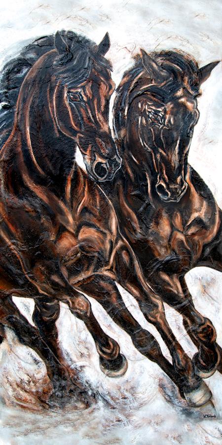 Dressurpferde auf Leinwand