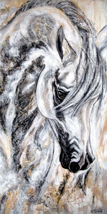 Pferdeportrait auf Leinwand