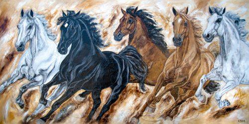 Pferdeherde auf Leinwand Kerstin Tschech