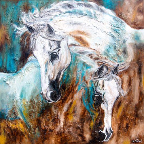 Pferdegemälde Schimmel abstrakt
