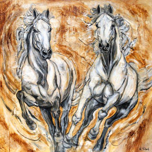 Barocke Pferde auf Leinwand